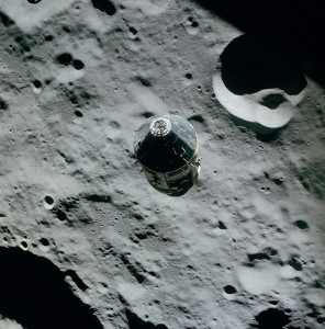 Pre-landing photo of the Command Service Module from the Lunar Module
