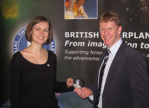 Kate Arkless Gray and Tim Peake with the SpaceTweep Society Patch