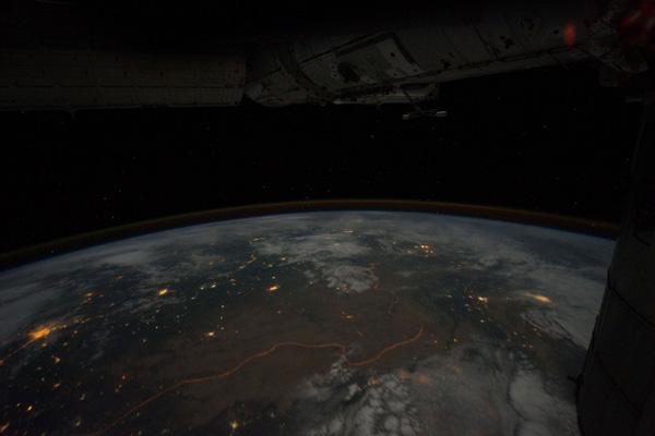 Illuminated human made border between India and Pakistan - Ron Garan/NASA