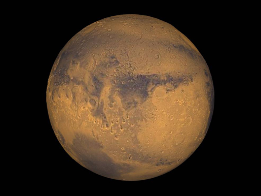 Mars true-color globe showing Terra Meridiani. Credits: NASA/Greg Shirah