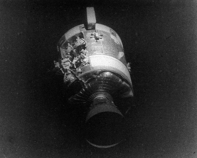 Apollo 13's damaged service module. Credit: NASA