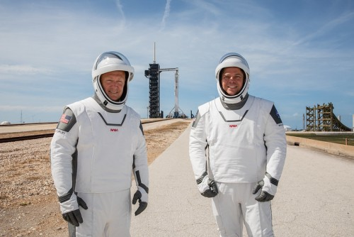 NASA astronauts Douglas Hurley (left) and Robert Behnken (right) ahead of their historic commercial crew programme launch
